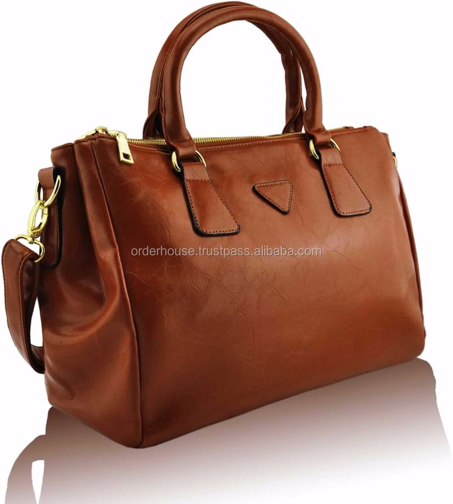 Ladies Designer Brown Smooth Leather Style Women Grab Bag Handbag