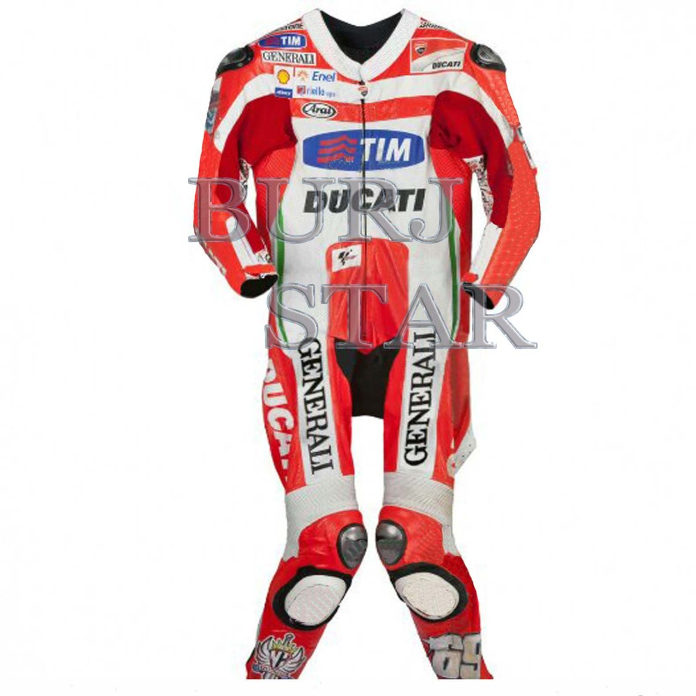 Motorbike RED WHITE) Racing Leather Professional Suit , Full Safety Motorcycle Racing Suit - Cowhide Leather Suit