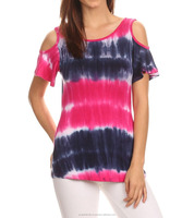 Womens tie - dye t shirt with cut shoulders