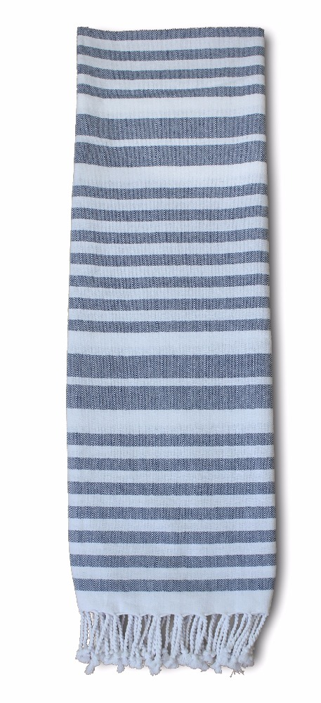 Turkish Hamam Peshtemal Cotton Towels, Beach & Bath Towels - Blue and Warm White striped