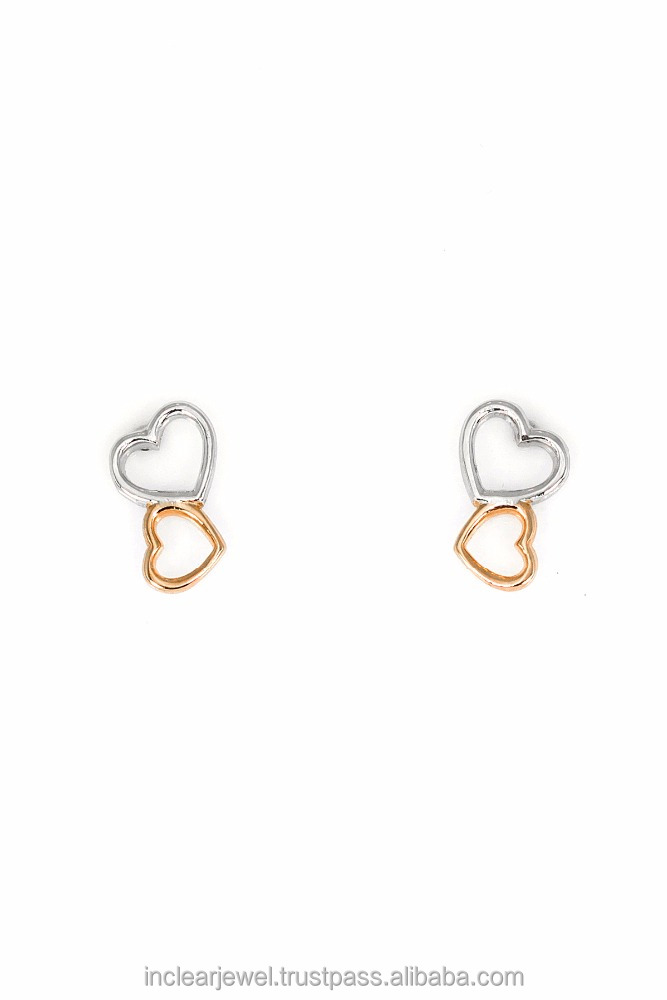 925 sterling silver Jewelry All About Heart Twin Heart Earrings