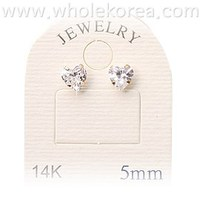 14K Gold Pin Heart Shape Cubic Earring Size 5~6mm Fashion Jewelry Accessory Item