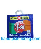 blue film printed HDPE soft loop plastic Bag