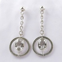 Special Piece Gemstone Crystal 925 Sterling Silver Earring, Silver Jewellery 925, Silver Jewellery India