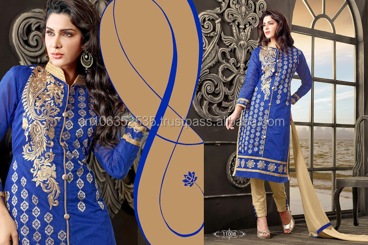 Embroidered Blue Cotton V-Neck Churidar Suits Party wear/casual wear