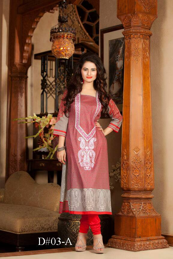 Red colored long Pakistani embroidered kurti Batik design no. 03-A / wholesale womens tunics, ladies kurti and kurta for women