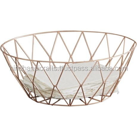 Copper Geometric Office Stationary Wire Mesh Basket, Paper Mesh Basket for Office and Home Decor, Metal Wire Office Basket