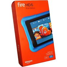 New other Amazon Kindle Fire HD 6 Kids Edition 8GB Black/Blue WiFi Tab PW98VM