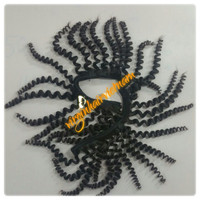 Steam Processed Curly Hair Extensions Natural Black Color, Strong Weft Line With Glue, Never Get Tangle Or Shedding