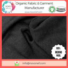 100% Wool Organic Fabric Rib slub flame Natural Wool fabrics for Baby Kids wear clothing knitted knit fabrics soft touch