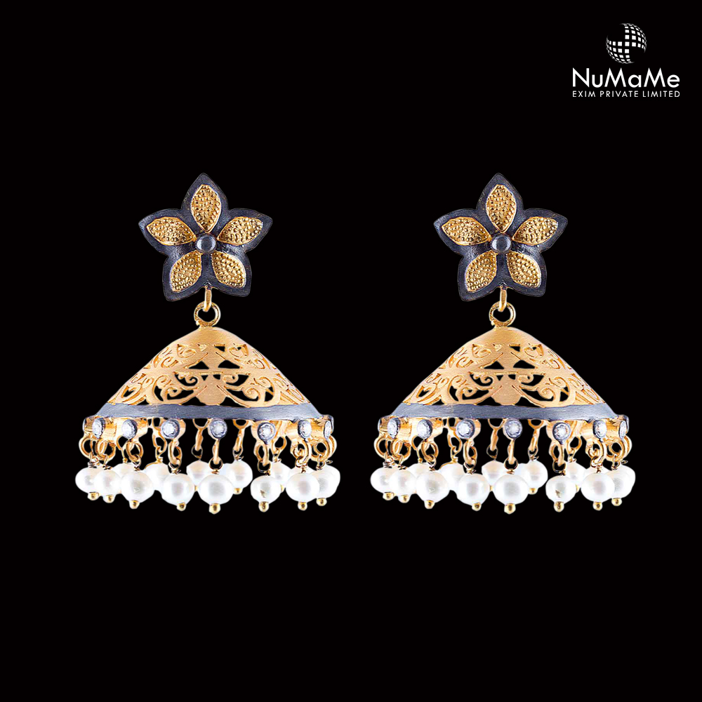Chic Designer Floral Stud Jhumka Earrings Handmade in Gold Plated 925 Sterling Silver & Crystals