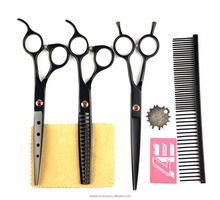 Pet Grooming Scissors Set 7 In. Professional Japanese steel 440C Dog Shears Hair Cutting +Curved+ Thinning Scissors With Comb