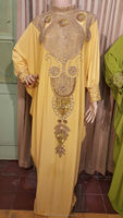 heavy beaded kaftan with long bead abaya jalabiya