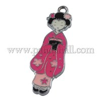 Zinc Alloy Enamel Pendant, Pretty Girl, Platinum Metal Color, Crimson, Size: about 26mm long, 22mm wide, hole: 2mm