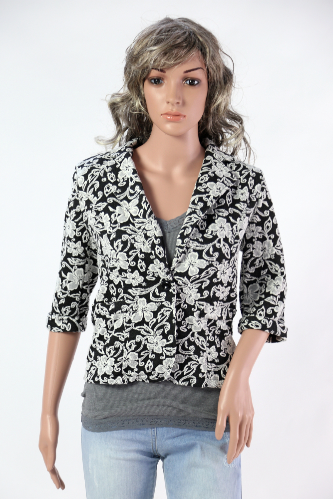 Slim fit jacket with flower printing art art PL G2255 fiori