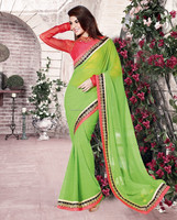 Simplistic Green color with black velvet on zari embroidery mirror work zari tissue border designer sarees