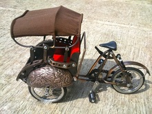 Miniature Bicycle Metal Material Iron Copper Brass Craft Yogyakarta Becak or Tricycle model Handmade Indonesia