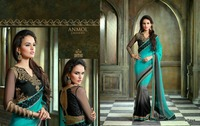 Double color crepe designer Saree