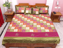 Indian Vintage Silk Jaipuri Hand Block Gold Print Associated Patch Work Bedspread Bed Cover Throw Blanket