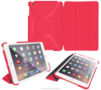 Slim Shell PC Case Cover - Features Landscape and Typing Stand for iPad Mini 3 2 1 roocase Optigon (Red)