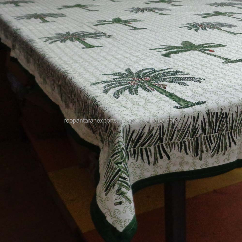 decorative KHAJOOR handmade block printed cotton voile Tablecloth
