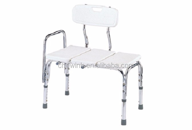 Health Care Aluminum Adjustable Transfer Shower Bench with Backrest for Elderly