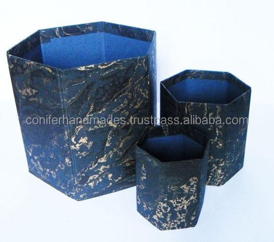 eco friendly handmade paper dustbin with marble print also available witn custom logo print suitable for promotions