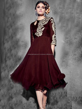 Coffee Color Modern Anarkali Style Tunic Dress