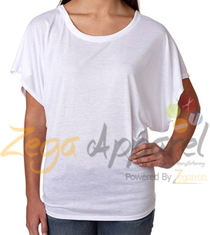 Zegaapparel 2015 summer new fashion women flowy draped sleeve dolman T-Shirt, custom t shirt