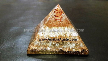 Crystal Copper Layer Orgone Pyramid With Crystal Quartz Point : Orgone Pyramid From Khambhat India For Sell