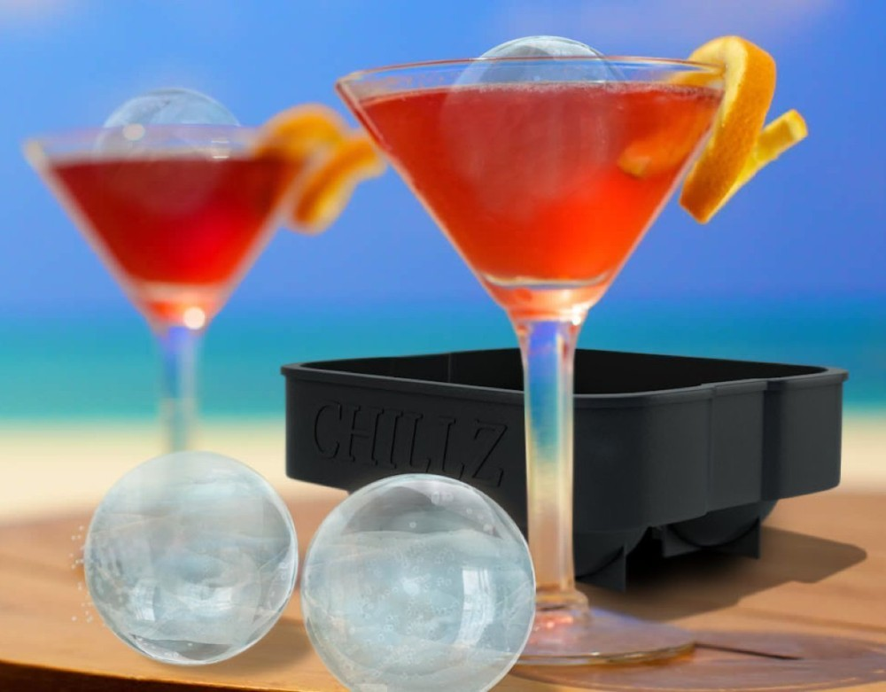 Froz Ice Ball Maker, Novelty Food Grade Silicone Ice Mold Tray With 4 X 4.5cm Ball Capacity