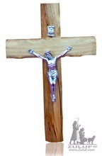 16cm Olive Wood Catholic Cross with Silver Plated Crucifix - CRS065 Zuluf