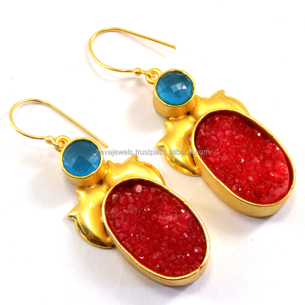 Latest Fine Fashion Jewelry Agate Druzy Natural Stone 24k Gold Plated Earring 2017 Design Wholesale India 1193