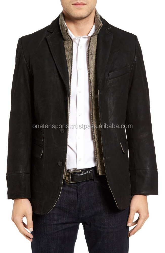 three-button casually leather coat / Men leather coat