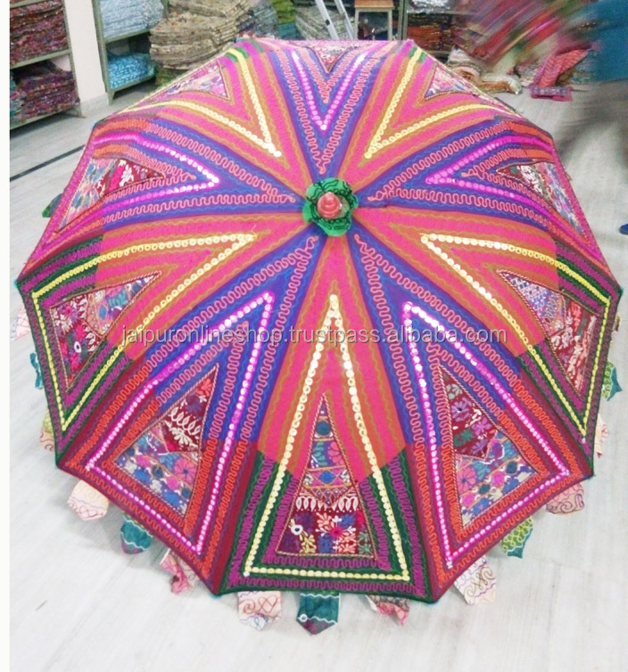 Rajasthani Handmade Embroidered Sun Protection Garden Umbrella Parasol