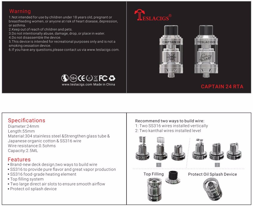 2016 The Best Excellent Atomizer RTA Adapt for All Electronic Cigarette, the Tesla New Production Captain 24 RTA