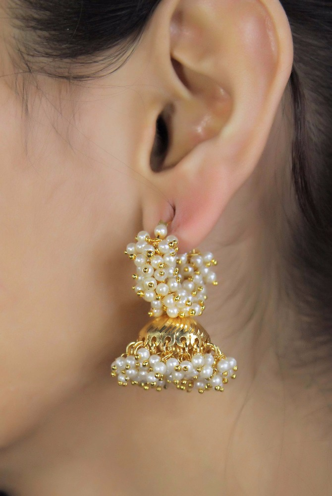 Indian Ethnic Bollywood Jewelry GoldTone White Pearl Earrings Jhumka