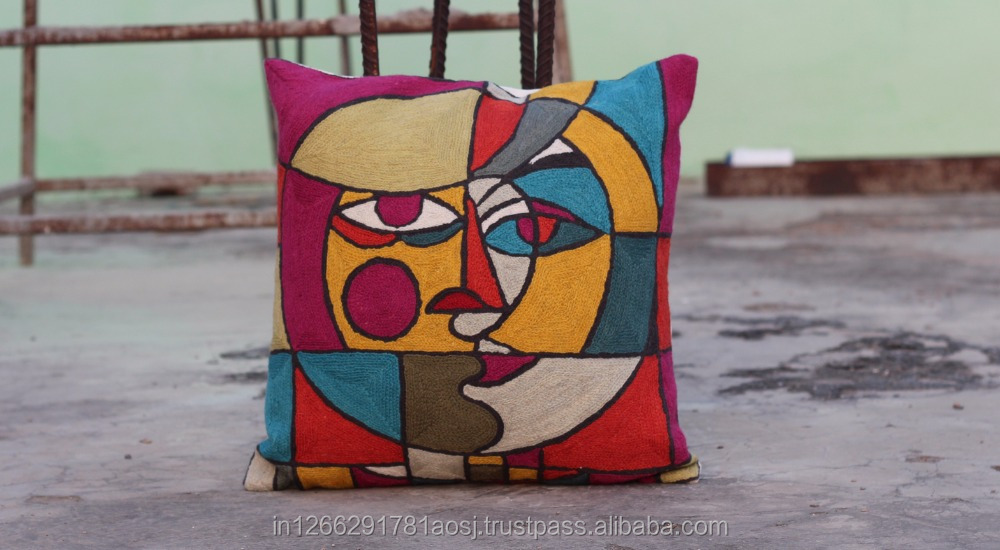 Cushion cover wholesale, hand embroidery cushion cover, applique work cushion cover made in india