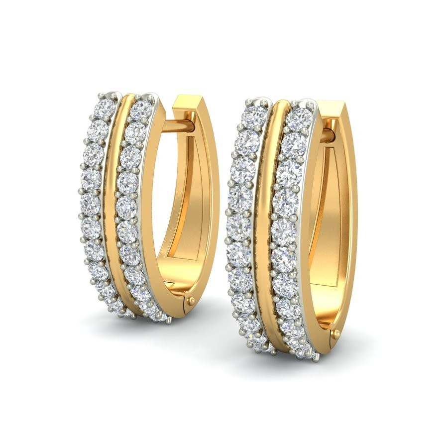 Indian Style Diamond Hoops In 14k Yellow Gold 14kt Hoop