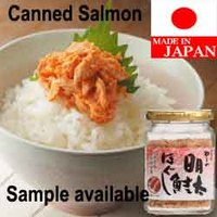High quality and Tasty canned smoked salmon made in Japan , spicy cod roe flavor