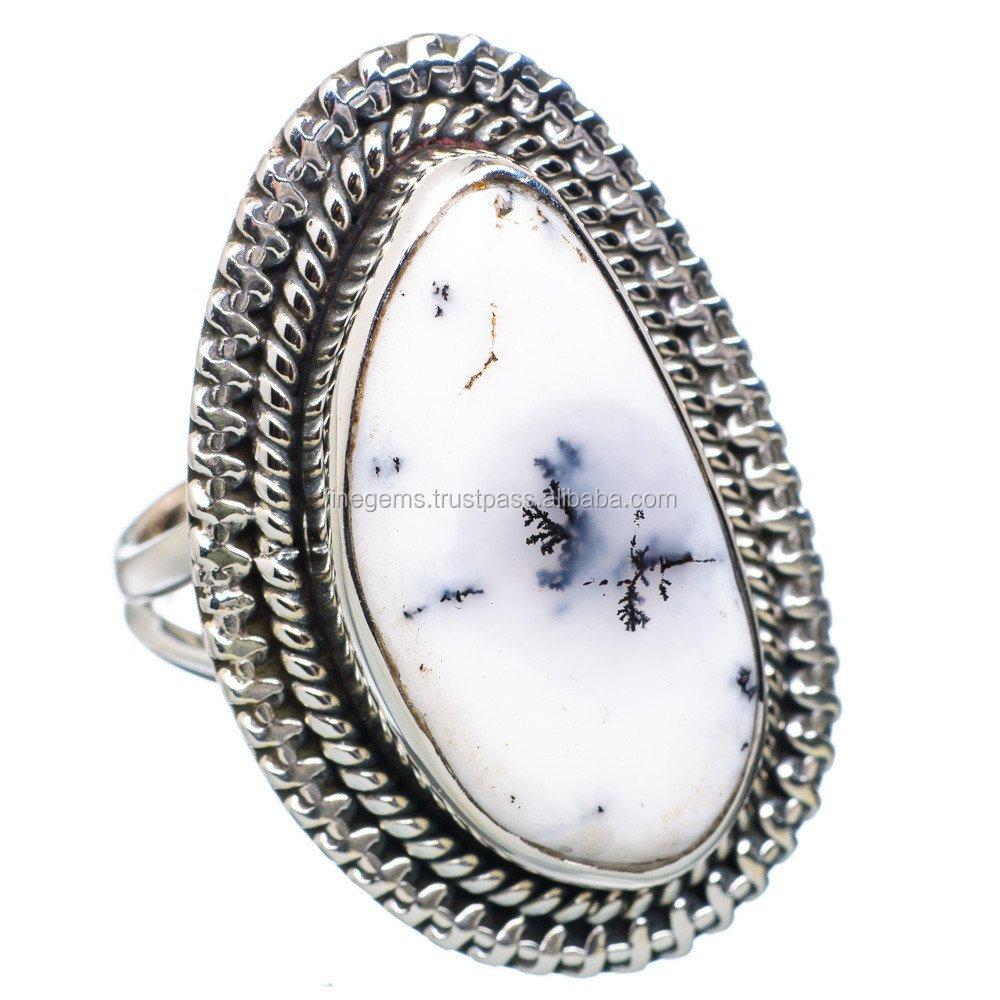 Natural dendritic agate Fashionable ring 92.5 sterling silver jewellery