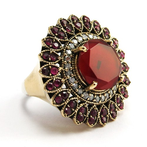 Victorian Style !! Red Onyx_White CZ 925 Sterling Silver Ring, Antique Silver Jewelry, Bohemina Silver Jewelry