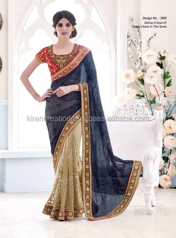 BEAD WORK NAVY BLUE AND CHIKU SAREE