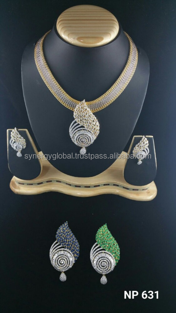 American Diamond CZ bridal necklace set - Bollywood style necklace set- Latest Indian imitation jewellery