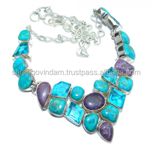 AAA SLEEPING BEAUTY TURQUOISE LAPIS STERLING SILVER NECKLACE