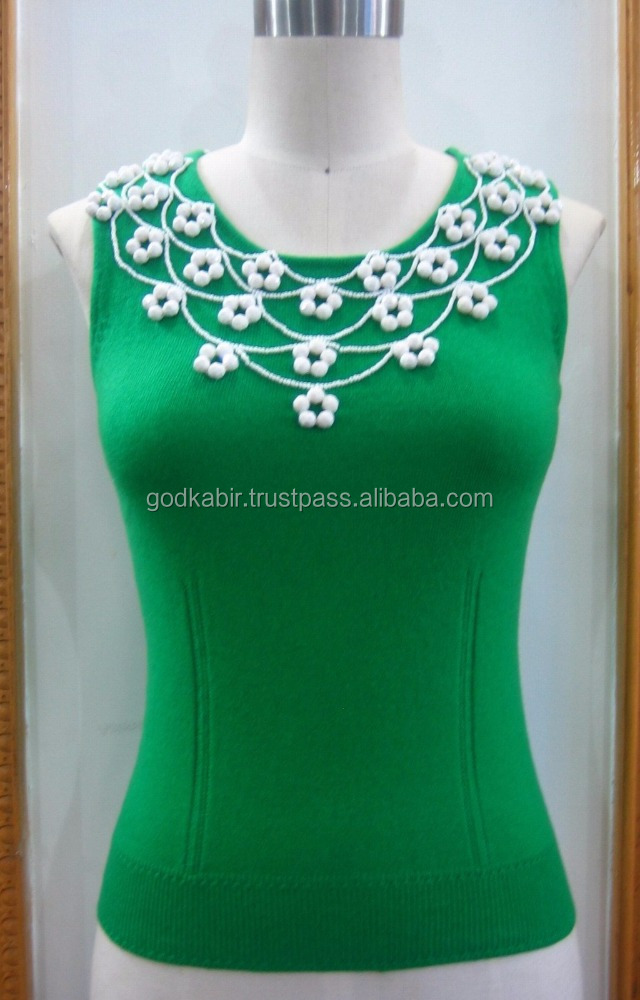 Brand New Collection of Rib Trim Green BeadingWork Women Top/ Blouse
