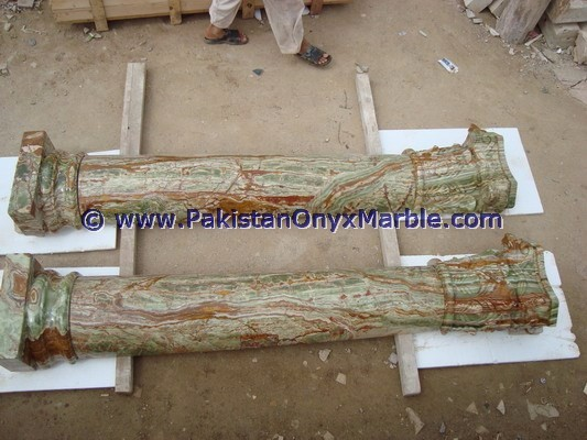 MULTI GREEN ONYX COLUMNS PILLARS CARVED TOP