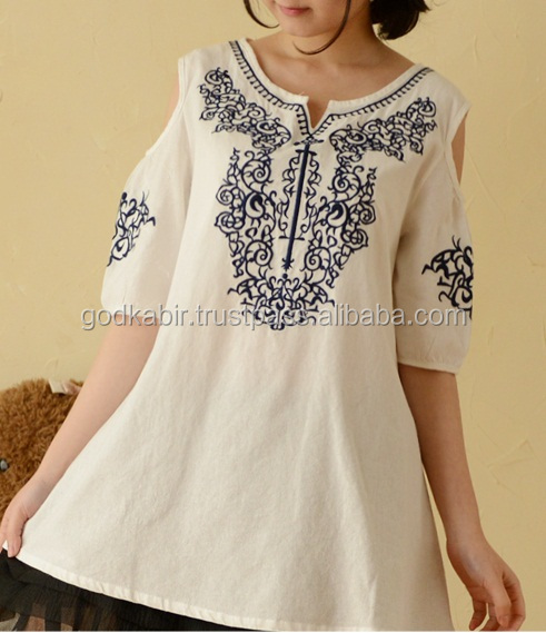 2016 Latest design charming women summer india tunic tops women sweet embroidery tunics short sleeve t-shirts-tops-loose