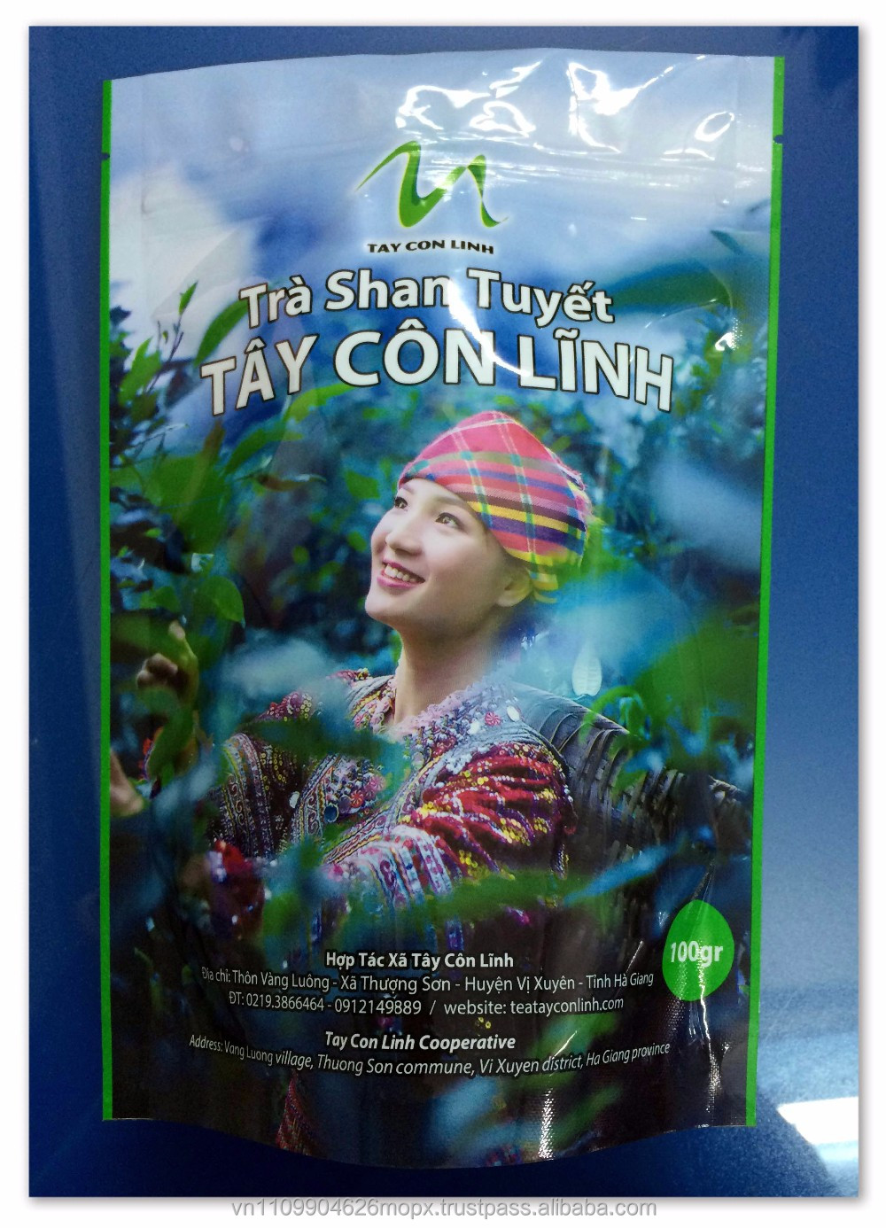 Plastic Laminated 100G Lady Photo Gravure Printing Standing Bottom Zipper Tea Package