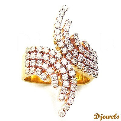 Designer Gold Diamond Ring 14K Ladies Ring express delivery